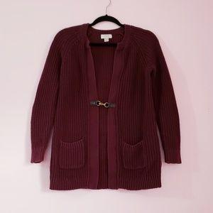 Ann Taylor Loft Burgundy knit Sweater Size M